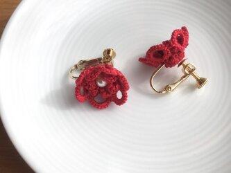 tatting lace earring/pierce【red】の画像