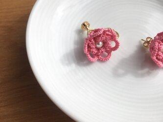 tatting lace earring/pierce【pink】の画像