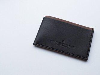 [受注生産品] 栃木レザー カードケース(BLACK & CHOCOLATE) MNC-08の画像