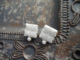 切子モヨウの陶pierce/earring(アイスカラー)の画像