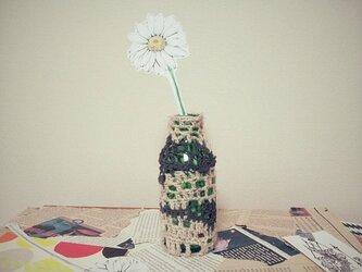 ペーパーフラワーと一輪挿し*knit 2color brownの画像