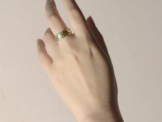 《3個セット》真鍮の小粒幾何学モチーフリング〈丸・三角・四角・平打ち・記号・図形・槌目〉Brass,ゴールドの画像