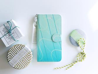 手帳型スマホケース|ネオンミントの画像