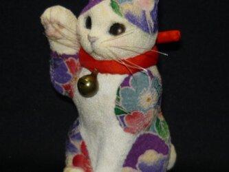百花繚乱 華やか招福招き猫 赤い座布団付の画像