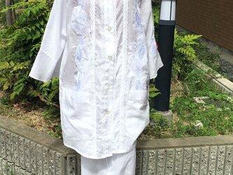 ローン布にレースをたっぷり付けた柔らかいパジャマコットン100% 送料無料の画像