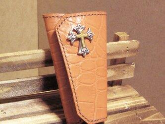 本革キーケース オレンジ 4連 コンチョ付きの画像