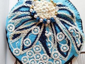 デイジー (刺繍 レース 青)の画像