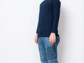 藍染 長袖カットソー 濃紺 size3の画像
