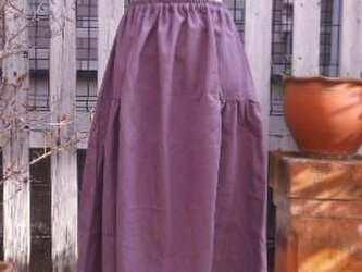 ふんわりフェミニンなサイドギャザースカート(藤色)の画像