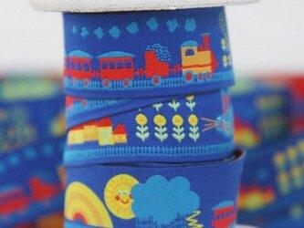 ドイツファーベミクス 刺繍リボン 1m-鉄道と街 ブルーの画像