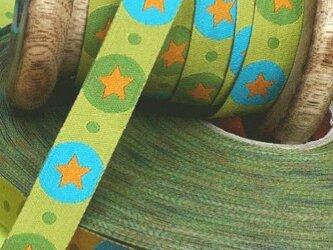ドイツファーベミクス 刺繍リボン 1m- スター グリーンの画像
