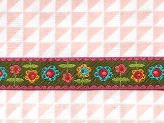 ドイツファーベミクス 刺繍リボン 1m-フラワー ブラウンXピンクの画像
