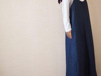 秋冬用 デニムサロペットスカートの画像