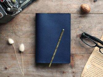 藍染革[shiboai] 文庫本ブックカバー(真鍮しおり付)の画像