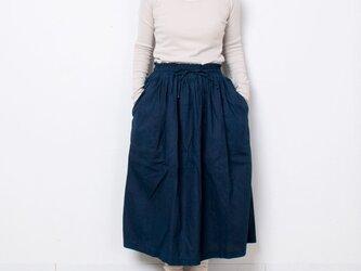 藍染 麻ギャザースカート 無地の画像