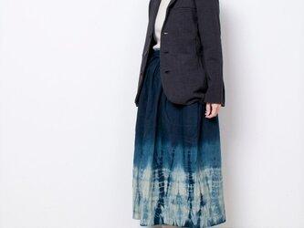 藍染 麻ギャザースカート 柳絞りの画像
