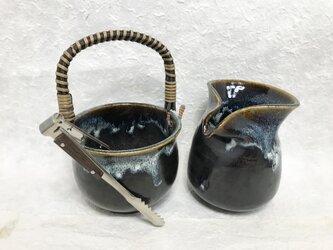 陶器 水割りセット大(アイスペール+ピッチャー)青黒 トング付きの画像