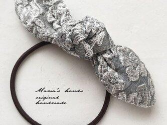 シルバー 花柄 銀 グレー リボン ヘアゴム♪の画像