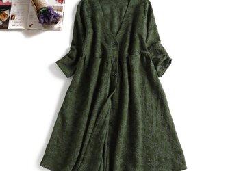 903-1ジャガード織り生地 花柄模様 秋向き 綿麻 ワンピース グリーンの画像