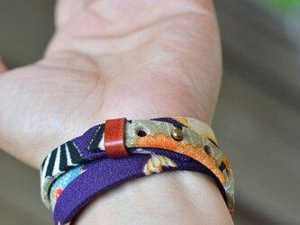 和風ブレスレット お祝い 紫  レザー 3連 Triple braceletの画像