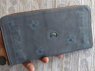 『街★』インディゴグレー×ブルー&エメラルド(牛革)ラウンドファスナー型長財布の画像