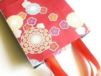 和柄のペーパーバック(紙袋)赤/ラッピングに!の画像