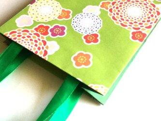 和柄のペーパーバック(紙袋)緑/ラッピングに!の画像