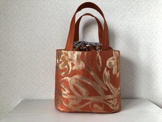 帯バッグ〜楕円底の巾着バッグ〜の画像