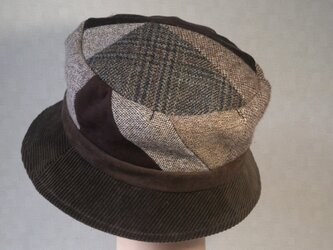 魅せる帽子☆小さいサイズ♪布遊びのあったかハット~ブラウンの画像