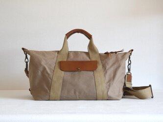 ボストンバッグ/薄茶 パラフィン帆布×牛革 旅行鞄 トラベルの画像
