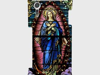 ステンドグラスモチーフ(マリア像)②  Galaxy S8等 大サイズスマホ対応 ハードケースの画像