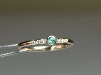 Paraiba tourmaline 2.5mm + Diamonds  Ring / K10YGの画像