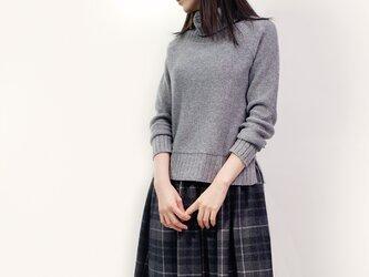 秋冬 ウール グレー×オフホワイト チェック ロングスカート ●KELLY●の画像