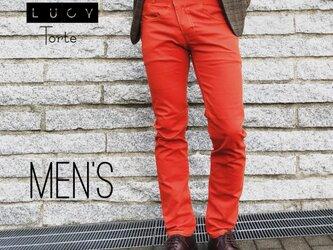 《Men's》カラースリムパンツ【ORANGE】の画像