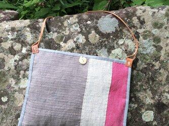 手織りヘンプショルダーバッグ キルトDの画像