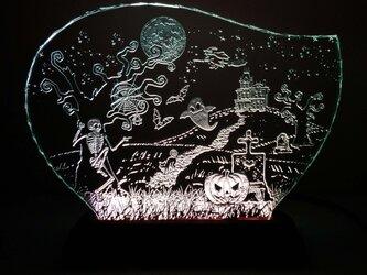 ハロウィンのガラスエッチングパネル Lサイズ・LEDスタンドセットの画像
