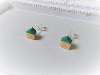 ピアス 木彫り 小さなお家 セット グリーン 27の画像