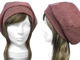 リブ織コットンニット/リブ付ベレー帽(ゆったり)◆杢レッドmixの画像