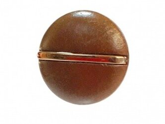 世界の飾りボタン ピンブローチ ブラウン[mazp-105]の画像
