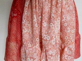 絞りと花柄の着物で作ったミニスカート 3784の画像