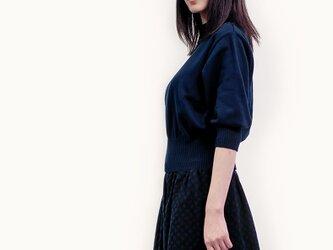 限定1枚★秋冬 黒×濃紺 ランダムドット ウール混 ロングスカート ●SARRA●の画像