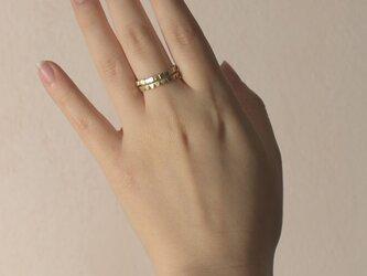 《2個セット》真鍮の小粒幾何学モチーフリング〈丸・三角・四角・平打ち・記号・図形・槌目〉Brass,ゴールドの画像