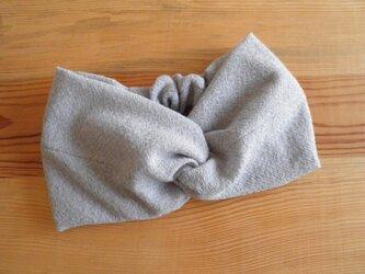 ねじりターバン ヘアバンド 杢ブルーグレーのウールガーゼの画像
