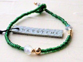 M様オーダー品 フランスアンティーク×ハーキマーダイヤモンドglassbracelet (shizuku)の画像