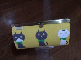 長財布(ねこちゃん マスタード黄色)の画像