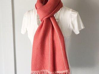 """【ベビーアルパカ:秋冬】ユニセックス:手織りマフラー """"Pink Orange with White lines""""の画像"""