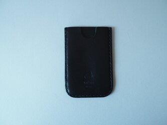 牛革のスマートパスケース ブラックの画像