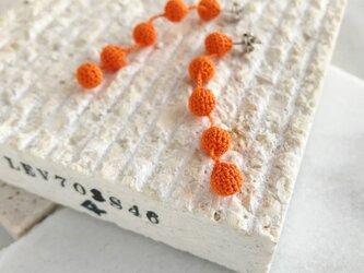 編み玉5連ピアス/ノンホールピアス 柿色の画像