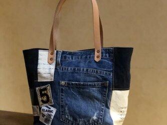 宅急便送料無料☆army duc square tote bag M patch denim & navyの画像
