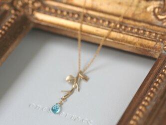 14kgf 宝石質 ブルーアパタイトとオリーブ リーフ 小枝のネックレスの画像